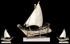 Sterling Silver Model of a Large Arab Sailing Boat / Sharjah and ( display stand ) Marked Dubai 1977
