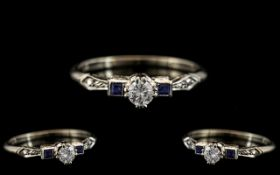 Art Deco Period Superb 18ct White Gold and Palladium - Diamond and Sapphire Set Dress Ring.