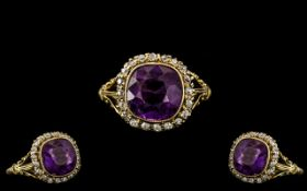 Antique Period - Lovely Top Quality 18ct Gold Diamond and Amethyst Set Dress Ring In Superb Overall
