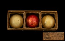Victorian Period Orme and Sons Black friars St Manchester Boxed Set of Ivory Billiard Balls. c.