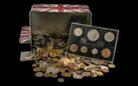 Tin Box of Full of Misc Foreign Coins and Bank Notes.