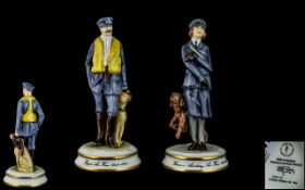Michael Sutty - Ltd Edition / Signed Hand Painted Pair of Porcelain Figures - From World War II (