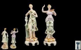 Volkstedt Pair of Hand Painted Porcelain Figures, Depicting Female Classical Figures,