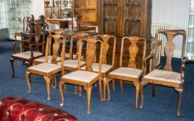 Harlequin Set of 6 Queen Anne Style Walnut Dining Chairs,
