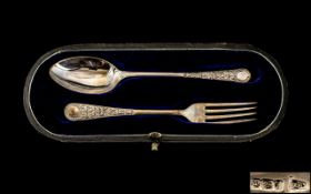 Edwardian Period Walker & Hall Sterling Silver Christening Set, Consisting of Spoon and Fork.