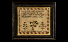 Small Antique Sampler by Sarah Greenwood 1836, with a verse from the Bible of typical form.