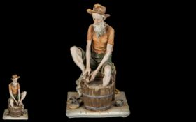 Capodimonte - Signed and Hand Painted Figure ' Old Gent Washing His Feet ' In a Large Tub.