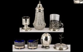 Antique Period Excellent Collection of Assorted Small Sterling Silver Items.