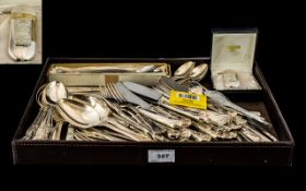 Large Collection of Flatware comprising cake servers; butter knives; sundae spoons;