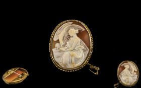 Antique Period - Superior 9ct Gold Framed Oval Shaped Shell Cameo of Large Proportions - Depicts a