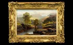 William Mellor Oil Painting on Canvas depicting cattle in a river landscape.