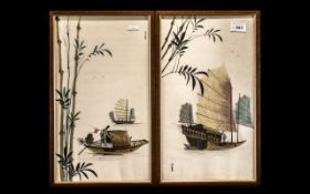 """Pair of Oriental Handpainted on Silk Pictures, framed behind glass, each measures 17"""" x 10""""."""