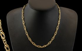 9ct Gold - Superior Quality Fancy Chain. Excellent Design, Fully Hallmarked for 9ct - 375.
