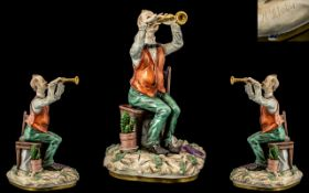 Capodimonte Signed and Superb Quality Musical Porcelain Figure ' Cornet Player ' Signed H. Schober.