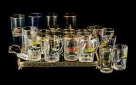 Glass Tray with Vintage Car Pattern, together with a collection of vintage glasses.