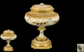 Royal China Works Worcester Excellent Quality Hand Painted Blush Ivory Pedestal Lidded Vase of Very