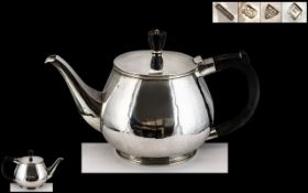 1950's Sterling Silver Planished Teapot of Excellent Proportions and Design. Hallmark Chester 1955.