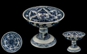 Antique Chinese Kang Shi Footed Stem Lib