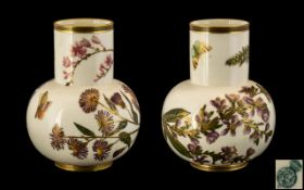 Royal Worcester Pair of Hand Painted Por