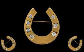 Antique Period 18ct Gold Diamond Set Hor