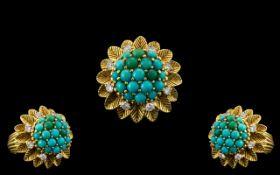 18ct Yellow Gold - 1970's Retro Turquois