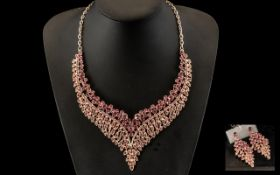 Dark Rose Pink Crystal Necklace and Matc