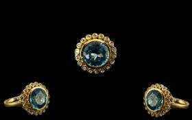 Swiss Blue Topaz Statement Ring, a 10ct