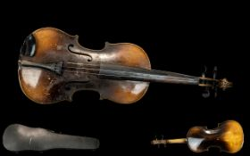 Antique Violin and Bow. Violin 60 cms In