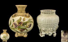 Blush Ivory Coloured Vase Decorated with