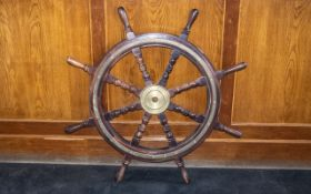 Wooden Ships Wheel With 8 Spokes with 9