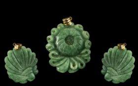 14ct Gold Mounted Green Jade Amulet / Pe