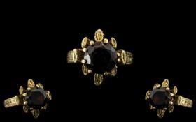 9ct Gold Garnet Set Dress Ring. Good Qua