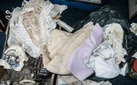 A Large Collection of Assorted Vintage Linen including crochet items, tablecloths, embroidered