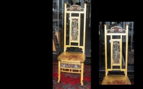 Japanese Style Stand Chair, high backed with floral panels (one missing) circa 1900. Damage to