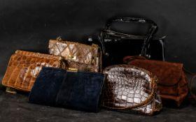Collection of Vintage Handbags, comprising: brown leather mock-croc single handle bag by Waldybag;