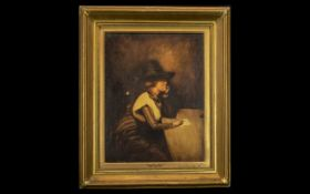 Oil on Canvas Titled 'Charlotte Corday, French Revolution' signed Harry Crowther 1923, showing the