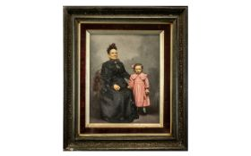 Large Victorian Photo in Period Frame, the photo in black and white with hand tinted colours;