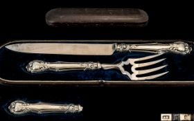 Victorian Period - Quality Boxed Set of Sterling Silver Handle Carvers. In Excellent Overall