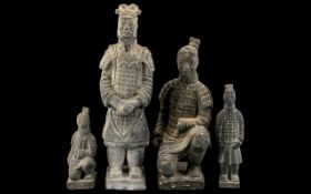 Terracotta Japanese Warriors, four in total, the largest being over 10 inches (25+cms); signed
