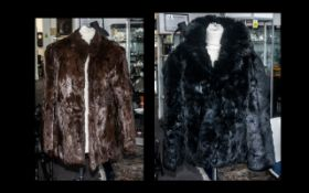 Black Coney Fur Jacket with quilted lining, two side pockets with leather trim, and hook and eye