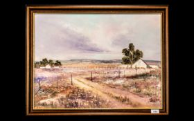 Wilhelm Ploner - South African Artist signed Oil on Board depicting a rural landscape with a farmer;