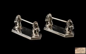 Mappin and Webb Silver Plated Knife Rests, a pair of knife rests, of good quality, supported by