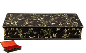 Chinese Hand Decorated Lacquered Papier Mache Glove Box, a large antique glove box with hand painted