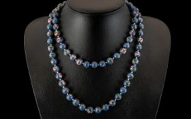1930s/40s Chinese Cloisonne Bead Necklace, large double knotted strand of enamel beadsof blue