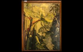 Railway Interest: Cuneo 1930s/40s Oleograph titled 'The Highlands'; this picture came from a