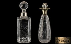 Edwardian Period - Art Nouveau ' Tulips ' Design Sterling Silver Collared Cut Glass Decanter of