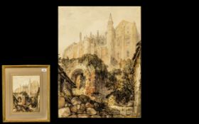 Watercolour Drawing Signed E W Cooke ARC, depicting a large castle or church, with a ruined gateway;