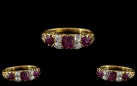 Late Victorian Period Superb and Attractive 5 Stone Ruby and Diamond Set Ring - Gallery Setting. The