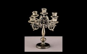 Victorian Small Silver Five Branch Novelty Candelabra, charming candelabra of small proportions,