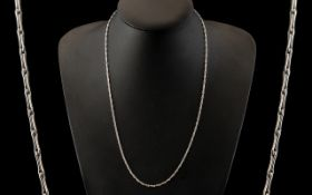Ladies or Gents 9ct White Gold Contemporary and Elegant Fancy Link Chain. Excellent Clasp and